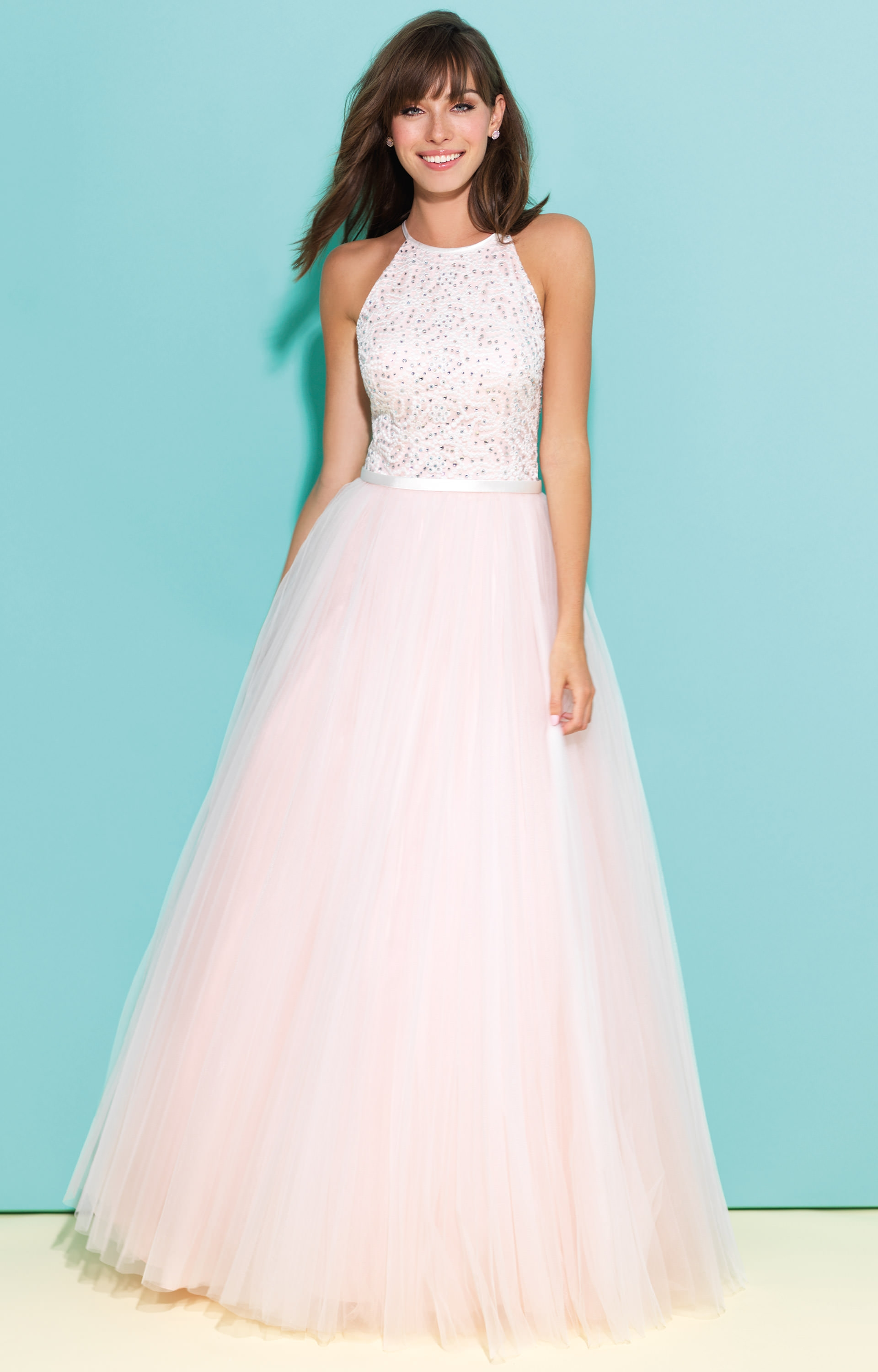 Madison James 17-243 - Lace Top with Keyhole Back Ballgown Prom Dress