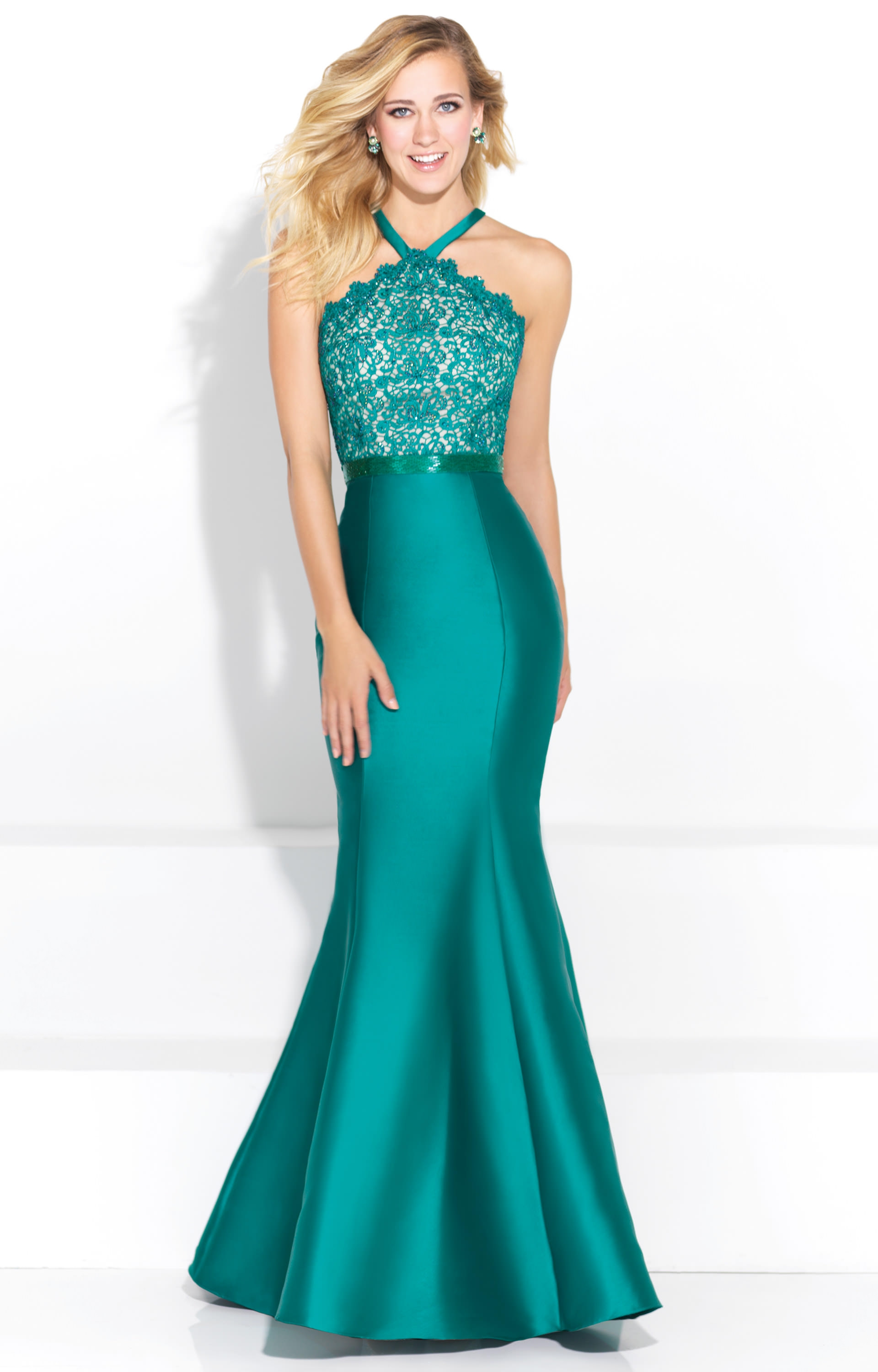 Madison James 17-254 - High Neck Lace Mermaid Prom Dress