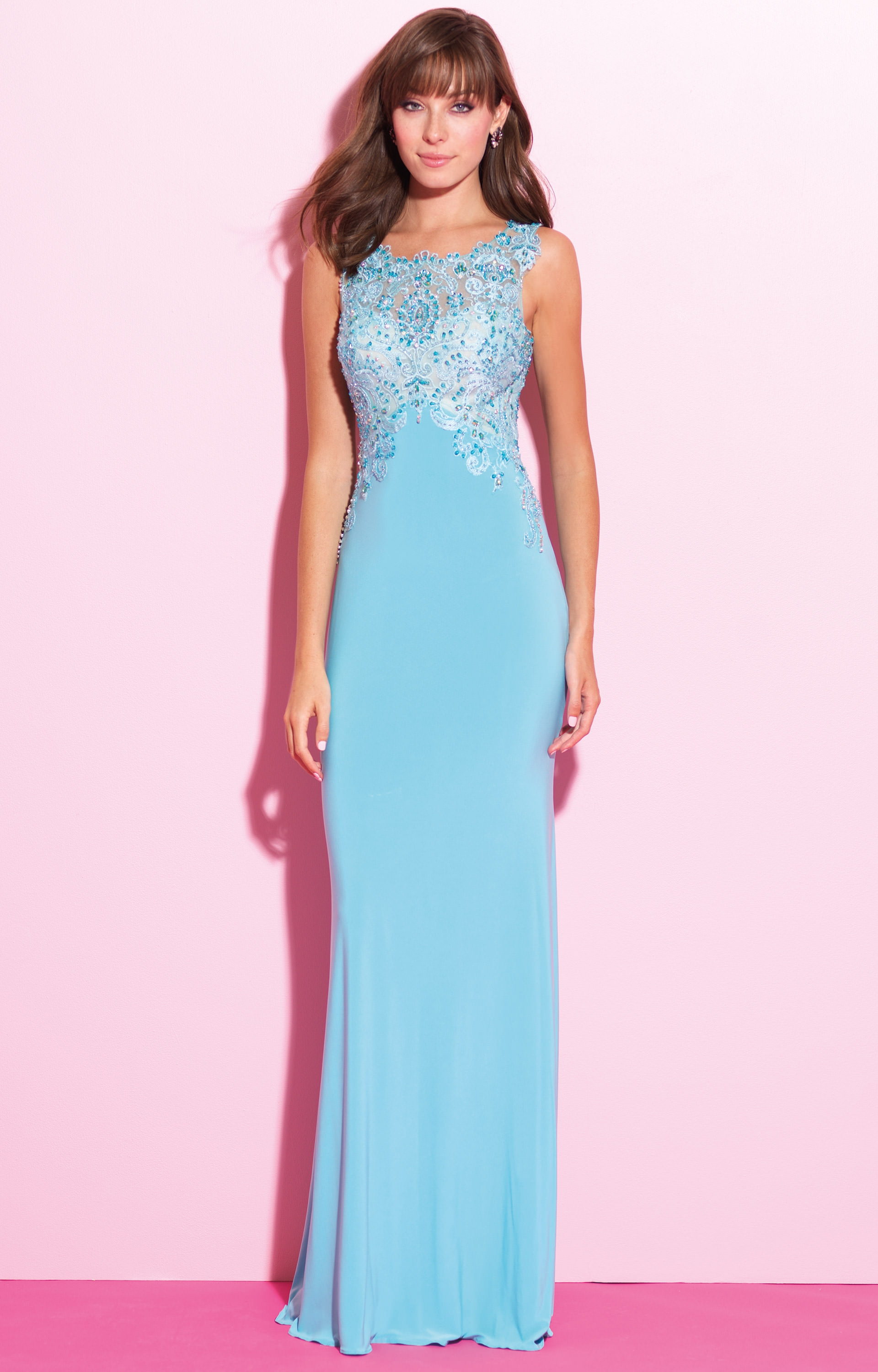 Madison James 17-275 - Sleeveless Jersey with Lace Applique Prom Dress