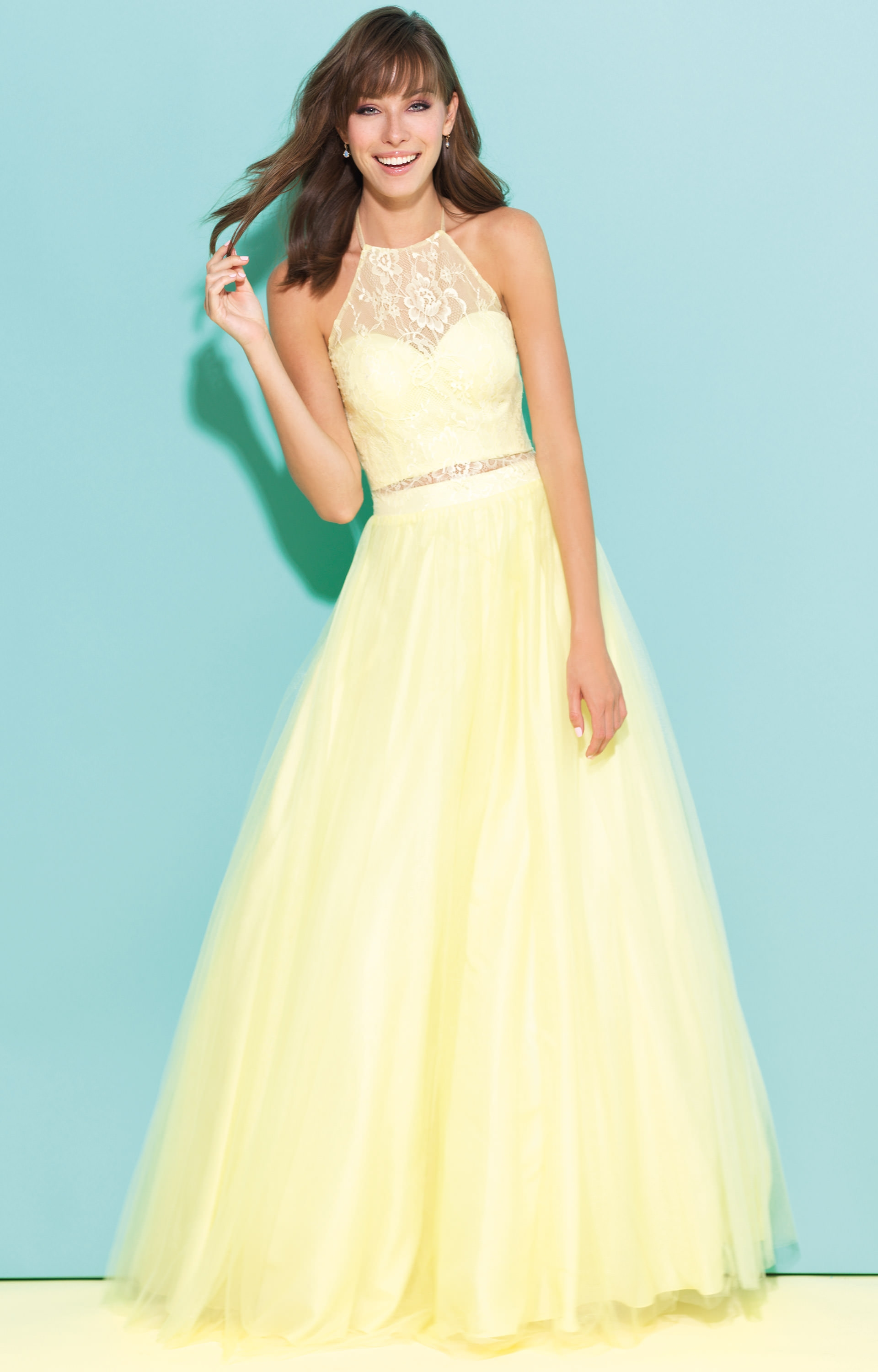 Madison James 17-284 - Two Piece Halter Dress with Lace Overlay Prom ...