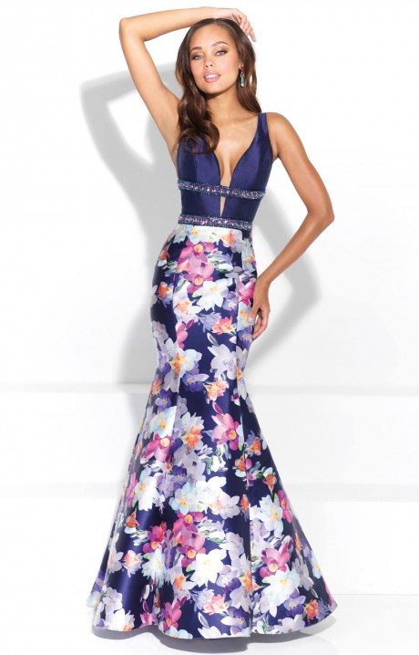 Madison James 17 289 Deep V Neckline Floral Printed