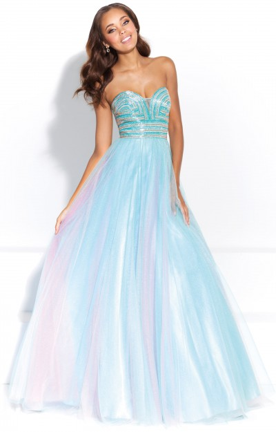 Strapless Sweetheart Tulle Ball Gown with Open Back and Beading