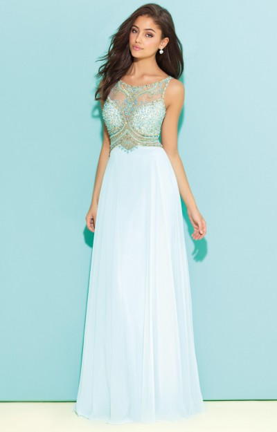 Sleeveless Beaded A-Line with Open Back and Chiffon Fabric