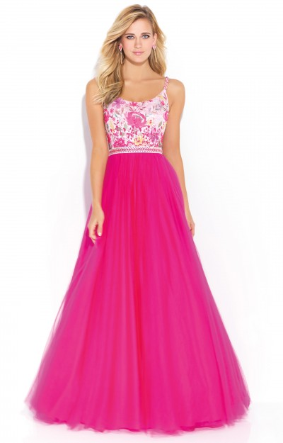 Sleeveless A-Line with Lace Applique and Tulle Skirt