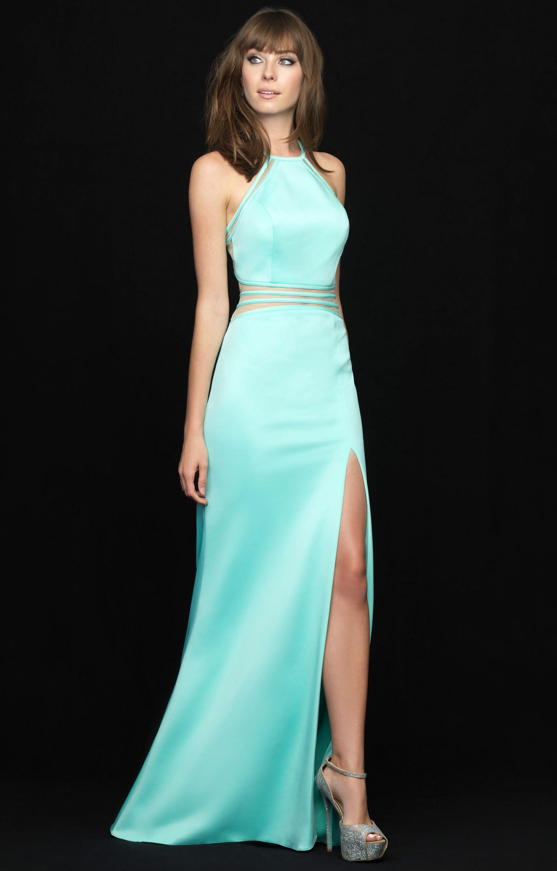 Madison James 18-641 - Halter, Mesh Cut-Out dress Prom Dress