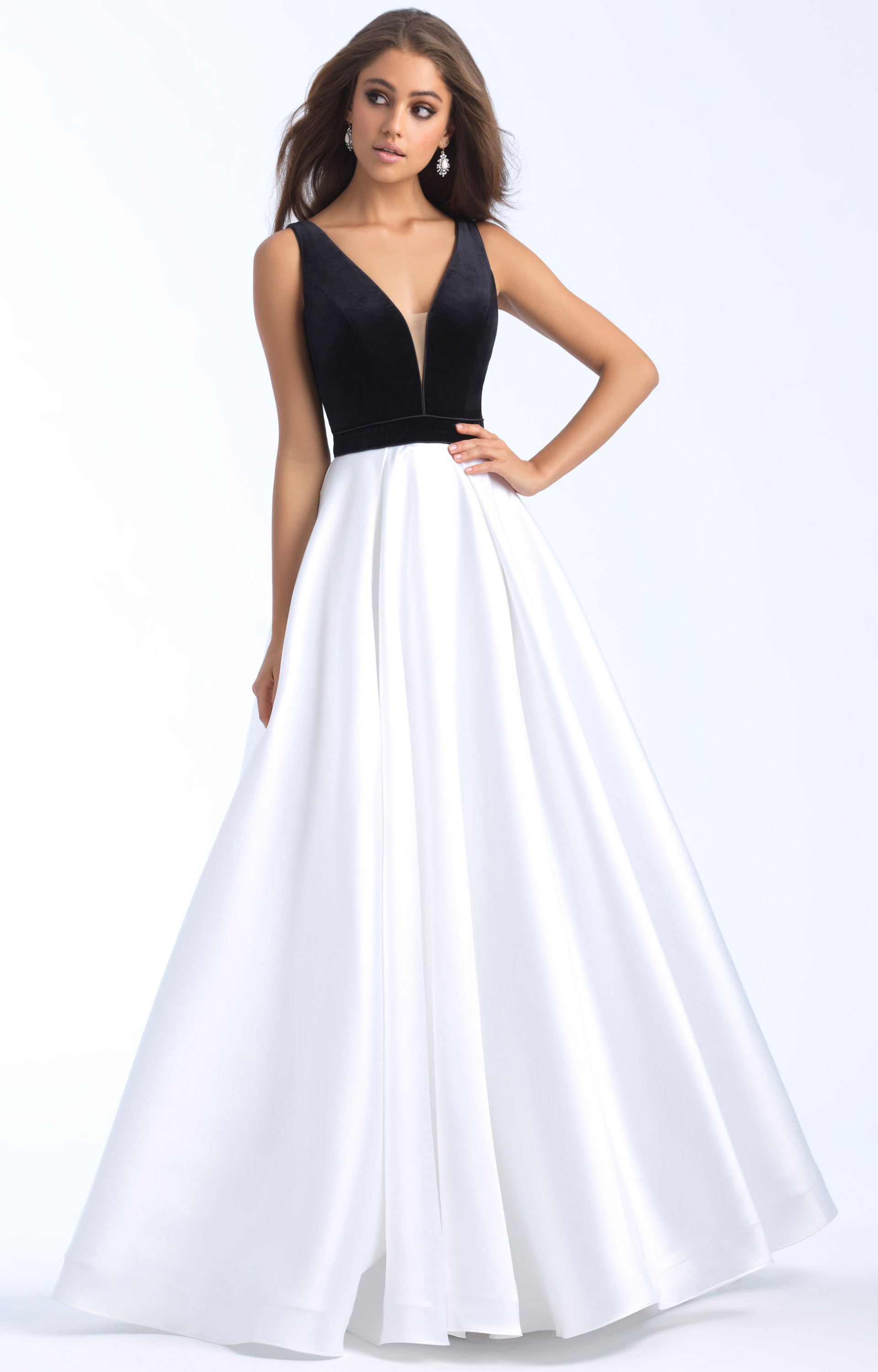 5701a1ccb14 Madison James 18-684 - Long A-Line Mikado V-Neck