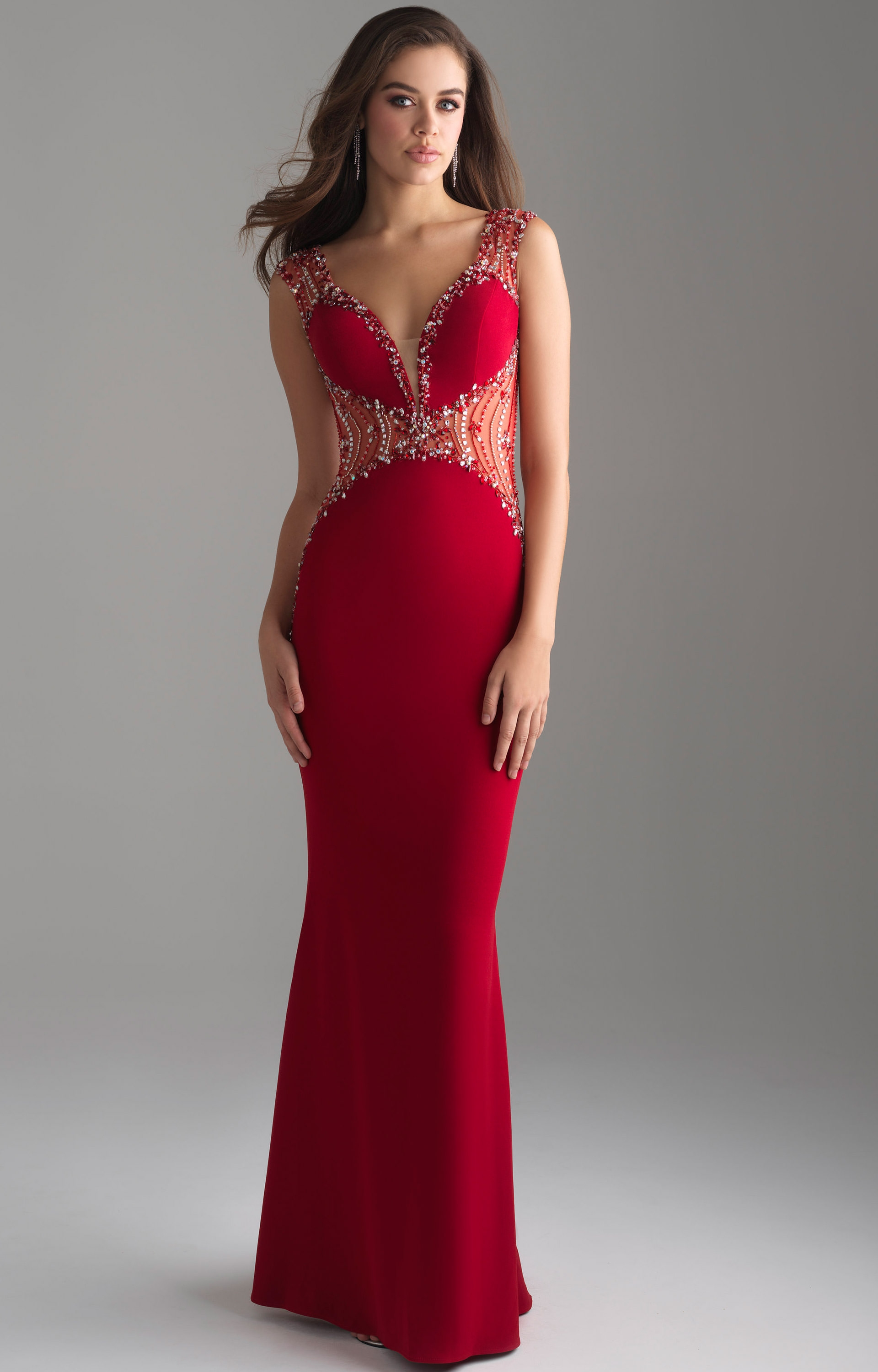 Madison James 18-696 - Long Fitted Jersey V-Neck Prom Dress b63ee8e68