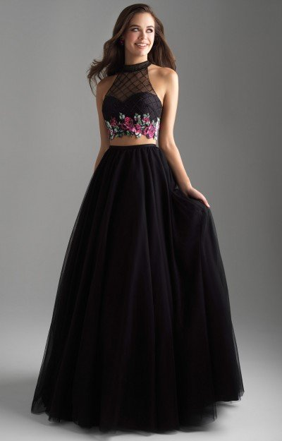 Long 2 Piece Tulle Ball Gown