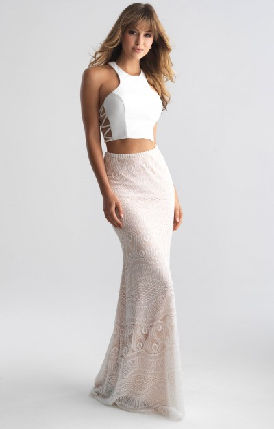 Long Fitted 2 Piece Lace
