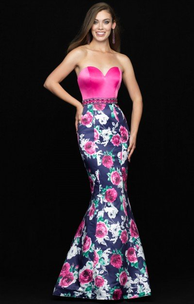 Strapless Sweetheart Floral Mermaid
