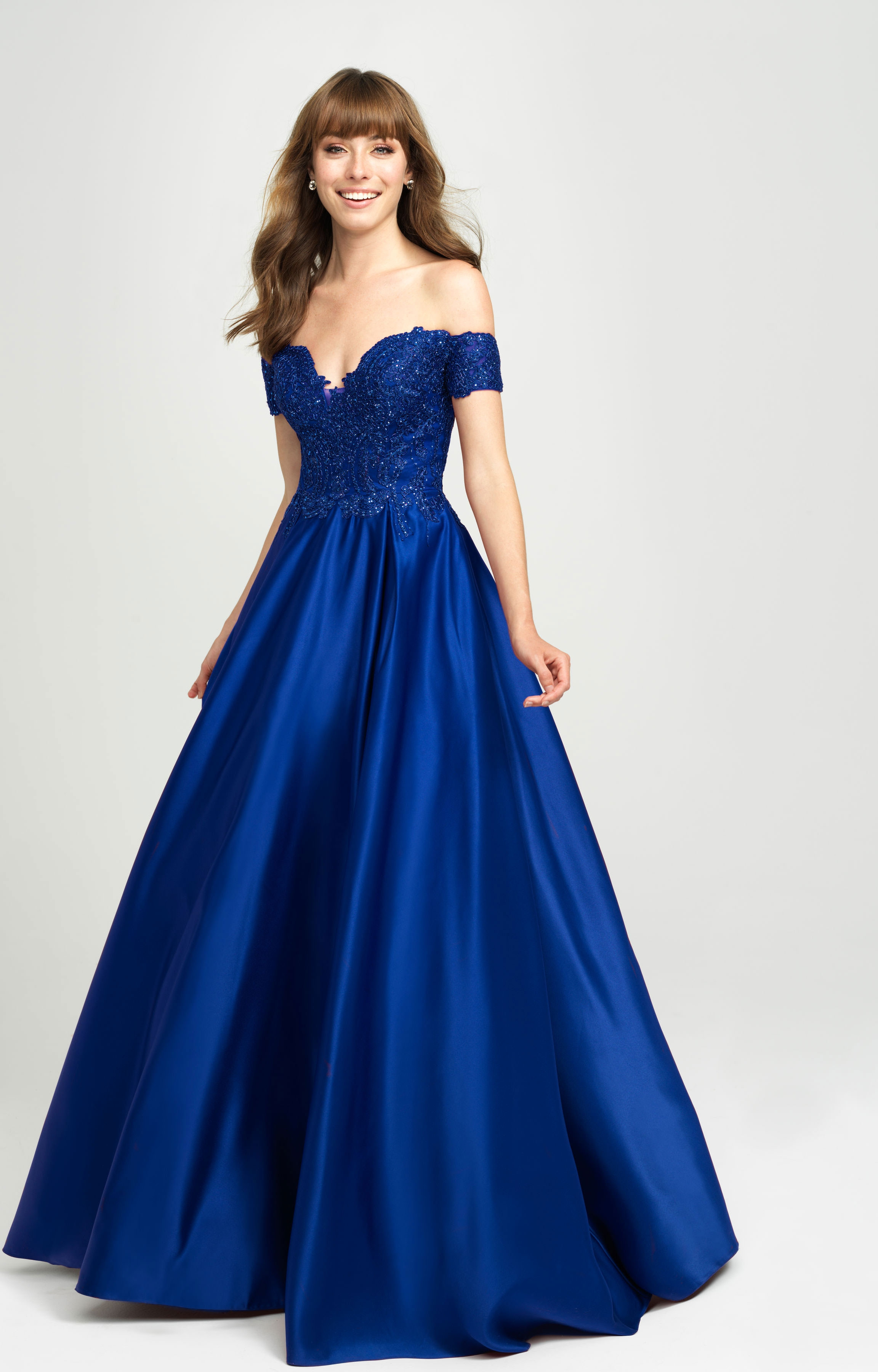 Madison James 19 102 Off The Shoulder Satin Ball Gown