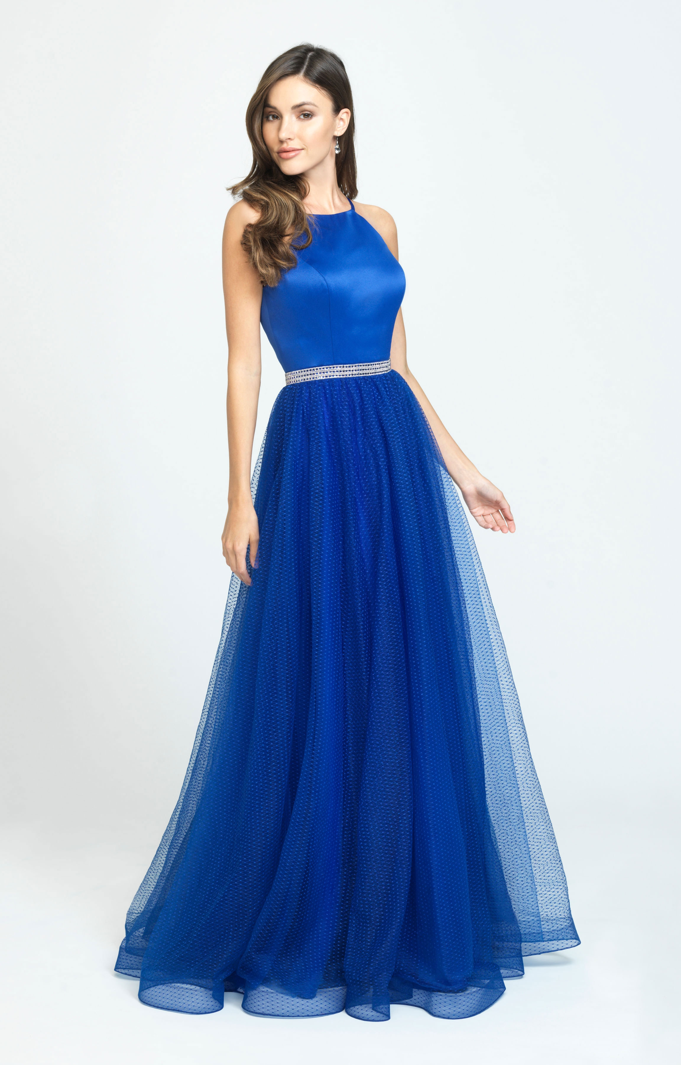 7c7afc2daa Madison James 19196. Classy and Elegant Halter A-Line Satin and Tulle Gown