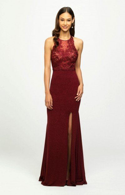 High Neckline Fitted Open Back Gown