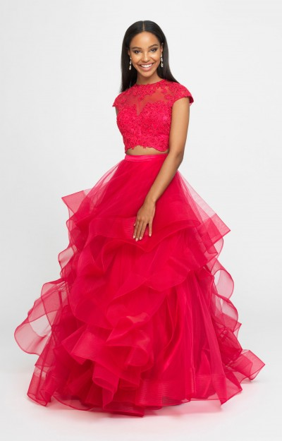 High Neckline Lace Sleeved Two Piece Ball Gown
