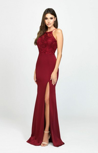 High Neckline Open Back High Slit Jersey Dress