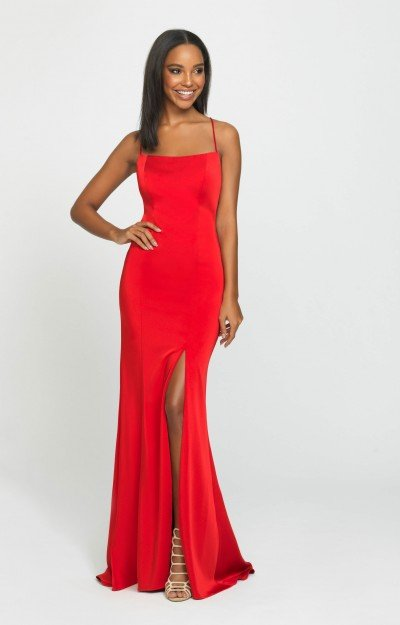 Fitted Open Back High Slit Satin Dress