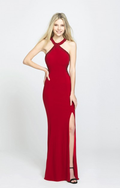 Classy and Sassy Beaded High Neckline Fitted Gown