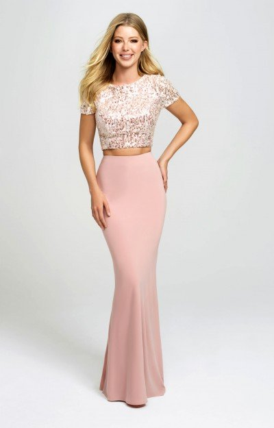 Shimmering Short Sleeved Sequin Two Piece