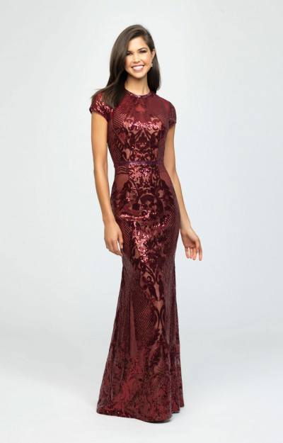 High Neckline Sequin Fitted Dress