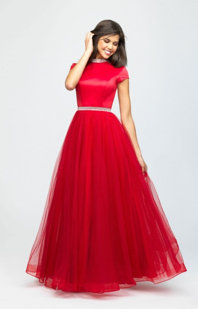 High Neckline Tulle Ball Gown