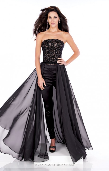 Mon Cheri Mce21606 Pant Suit With Train Prom Dress