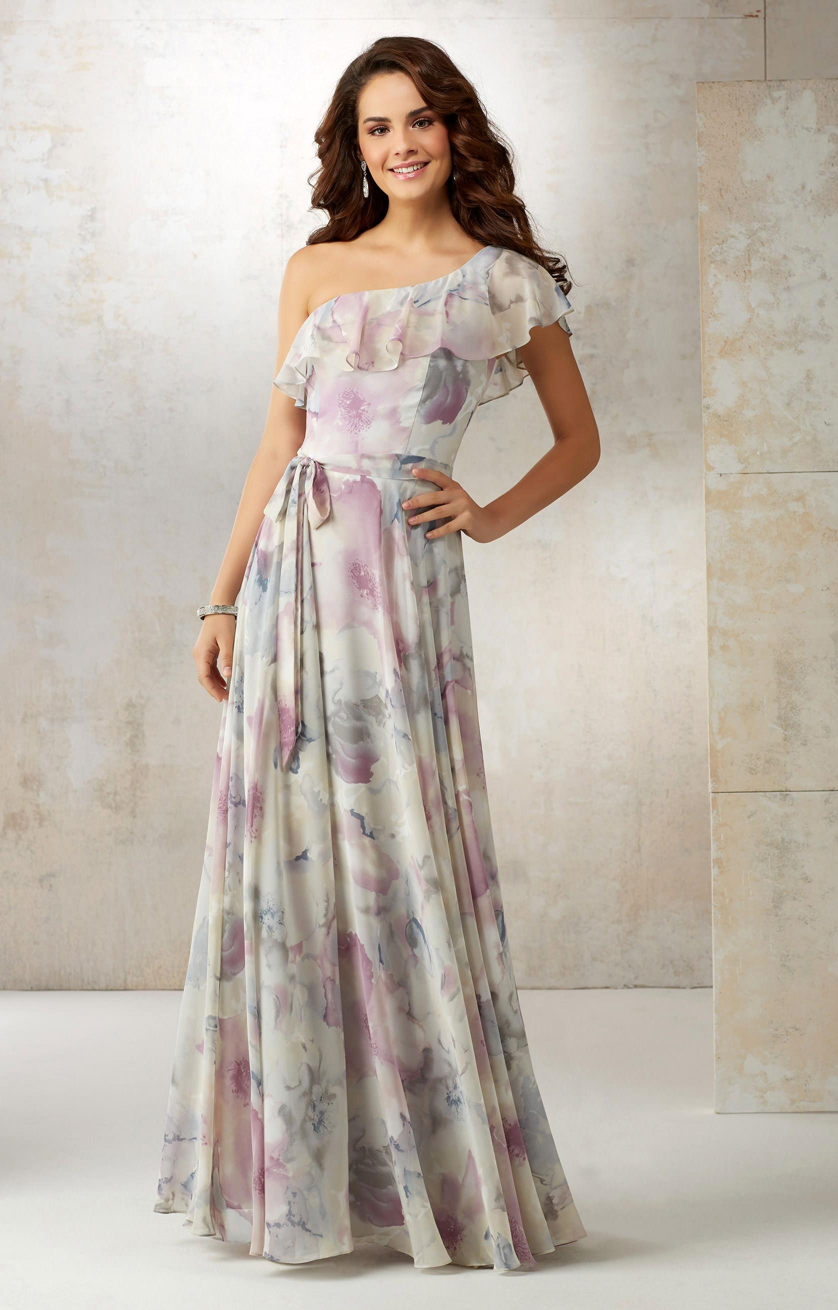 Mori Lee Bridesmaid 21503 Ruffle One Shoulder Tie Waist Gown