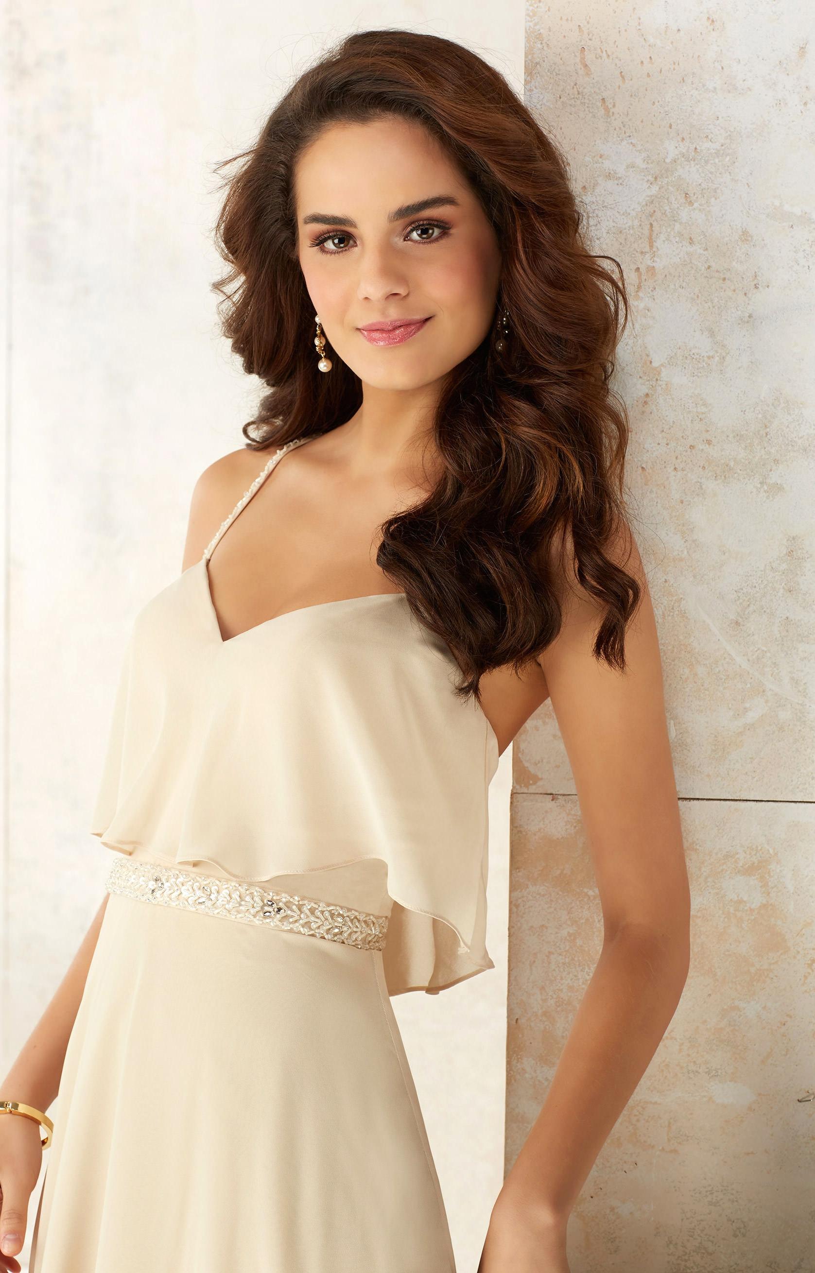 Mori Lee Bridesmaid 21507 Crystal Beaded Waist Dress