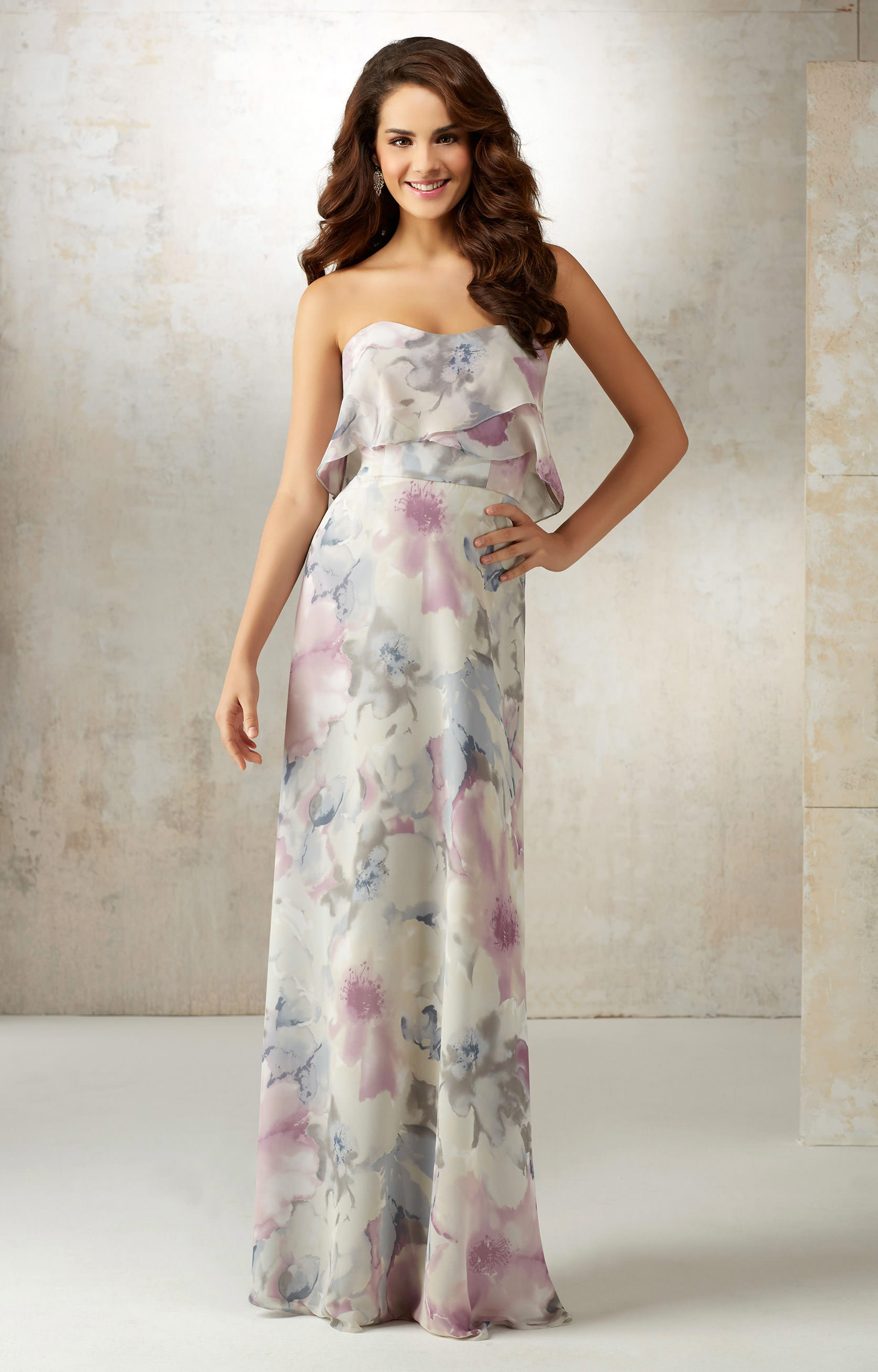 Mori Lee Bridesmaid 21515 Spaghetti Strap Chiffon Dress