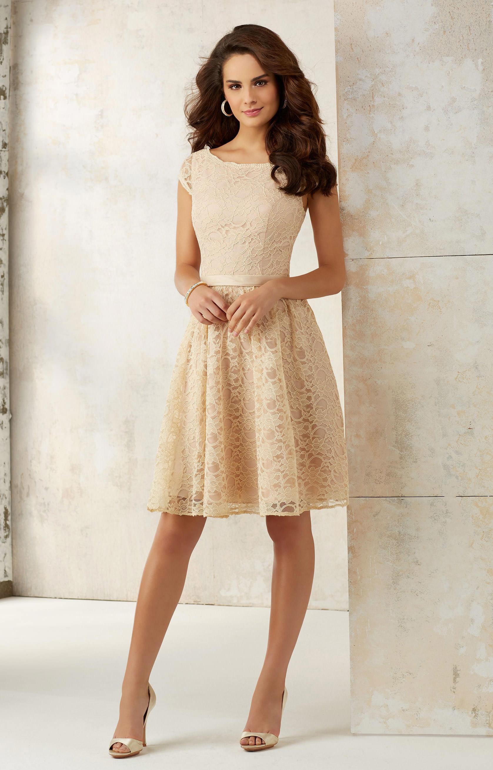 Mori Lee Bridesmaid 21518 Short Lace Cap Sleeve Dress