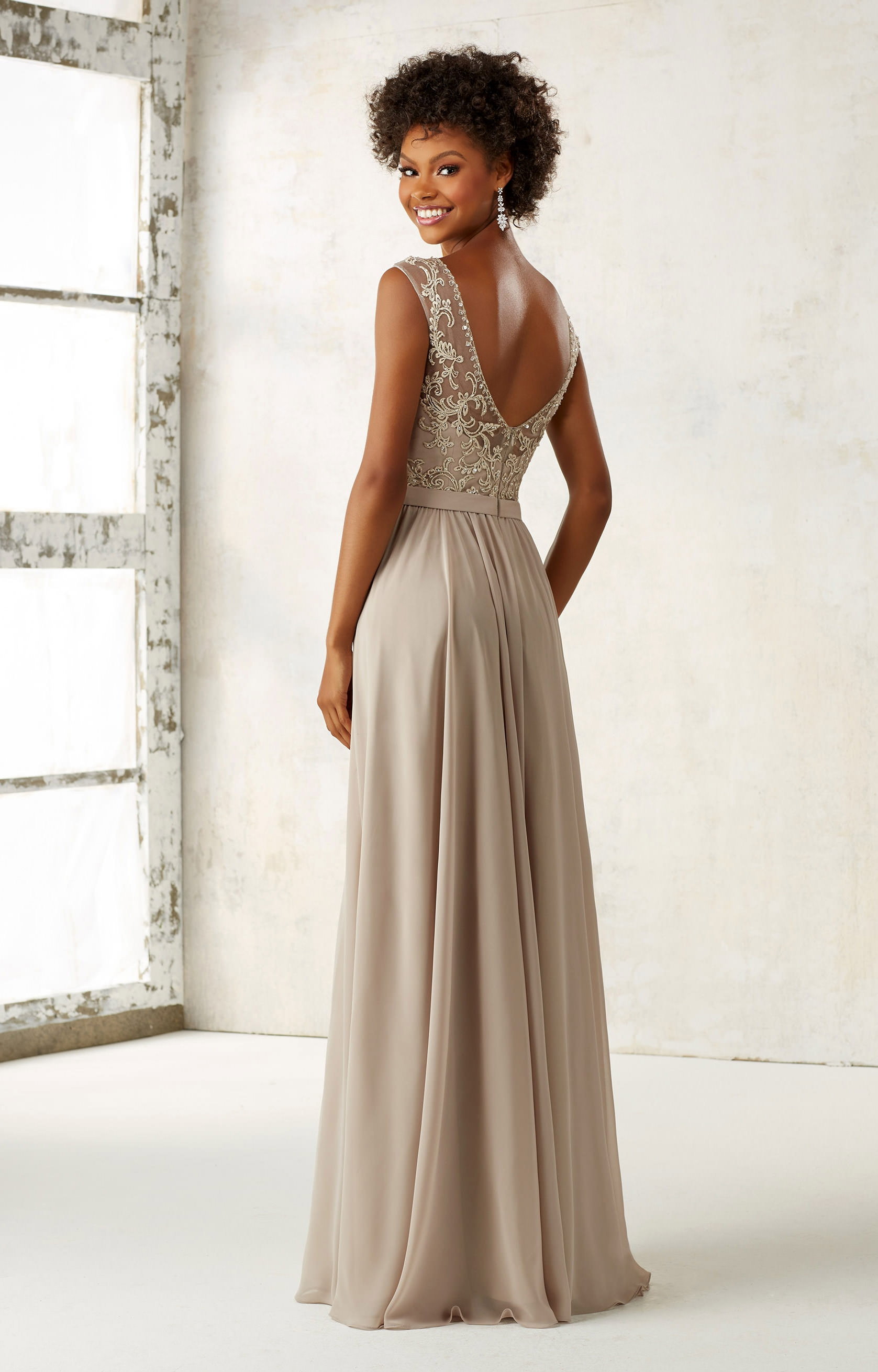 Mori Lee Bridesmaid 21522 Modest Beaded Neck Gown