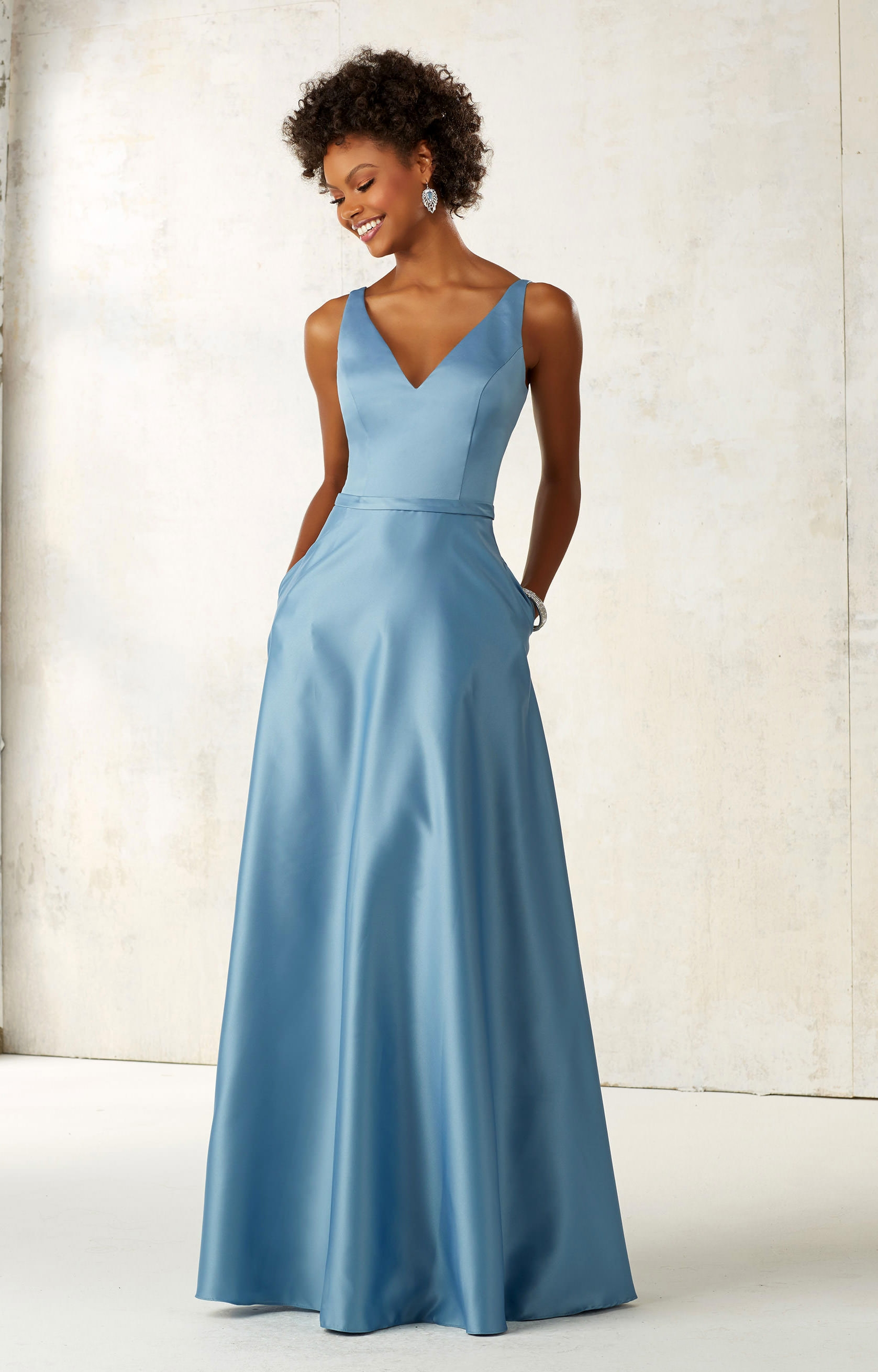 Mori Lee Bridesmaid 21525 Satin Dress With Pockets