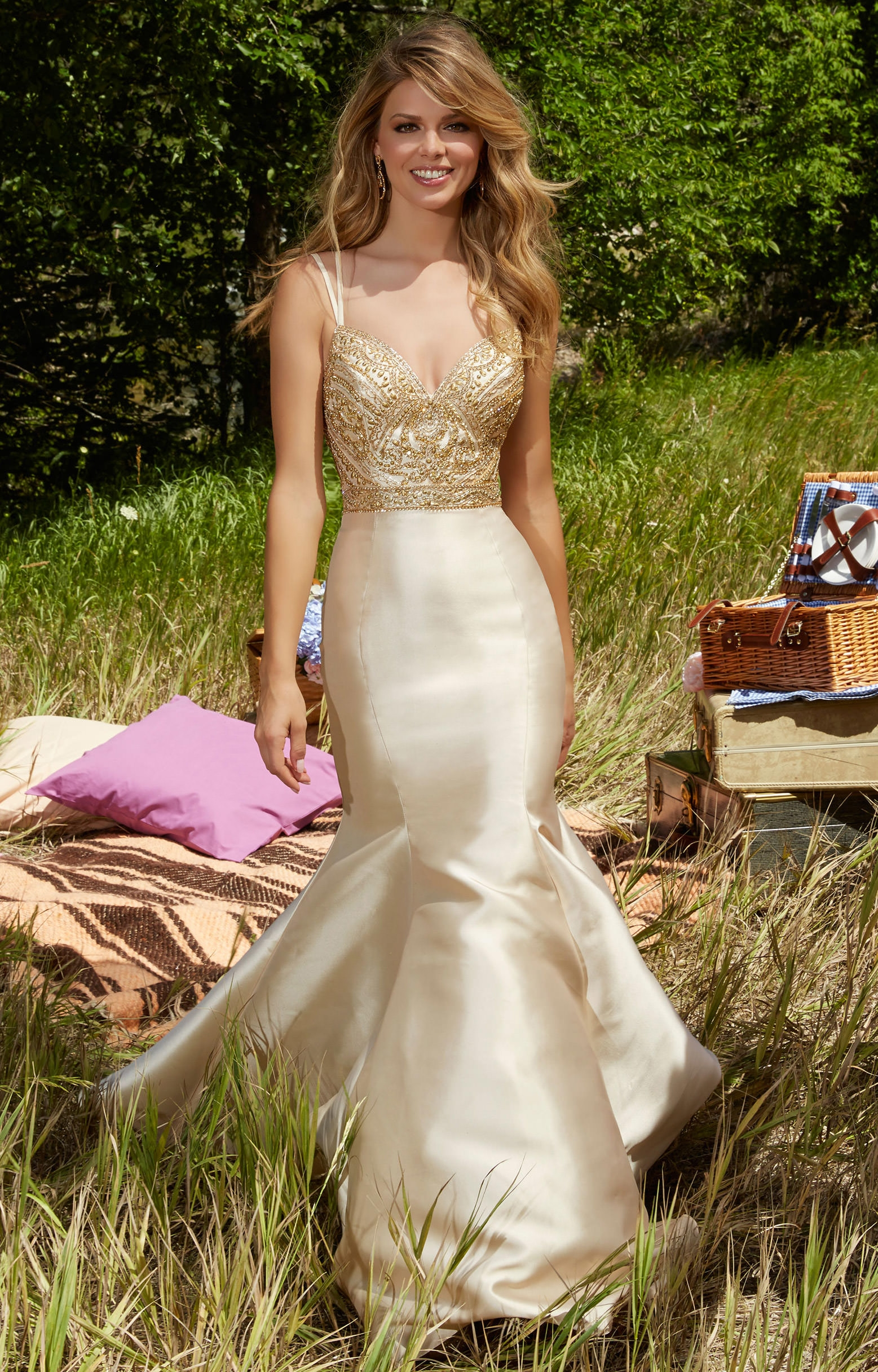 Mori Lee Long Prom Dress with Bow - PromGirl