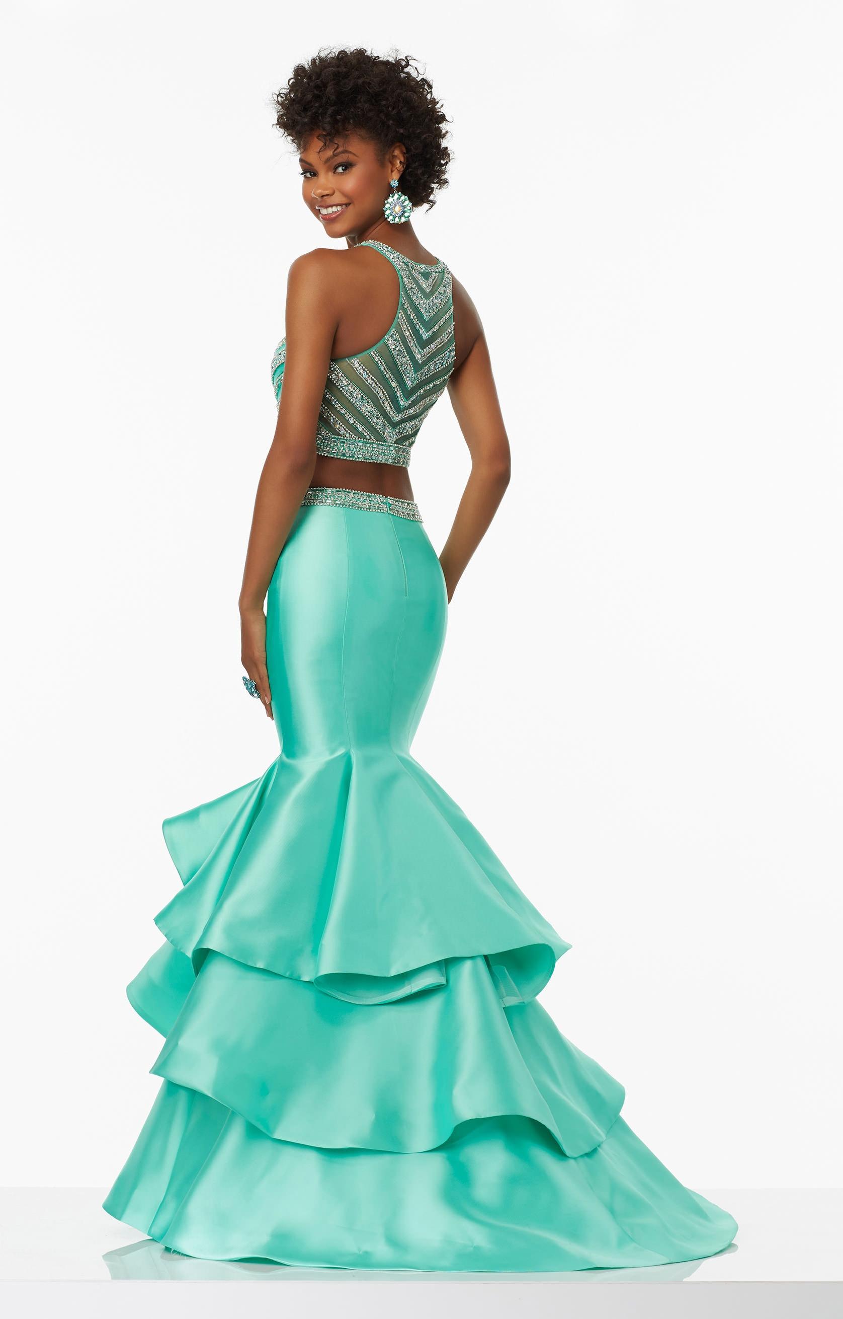 Mori Lee Prom 99039 - Larissa Satin Ruffled Mermaid Two Piece ...