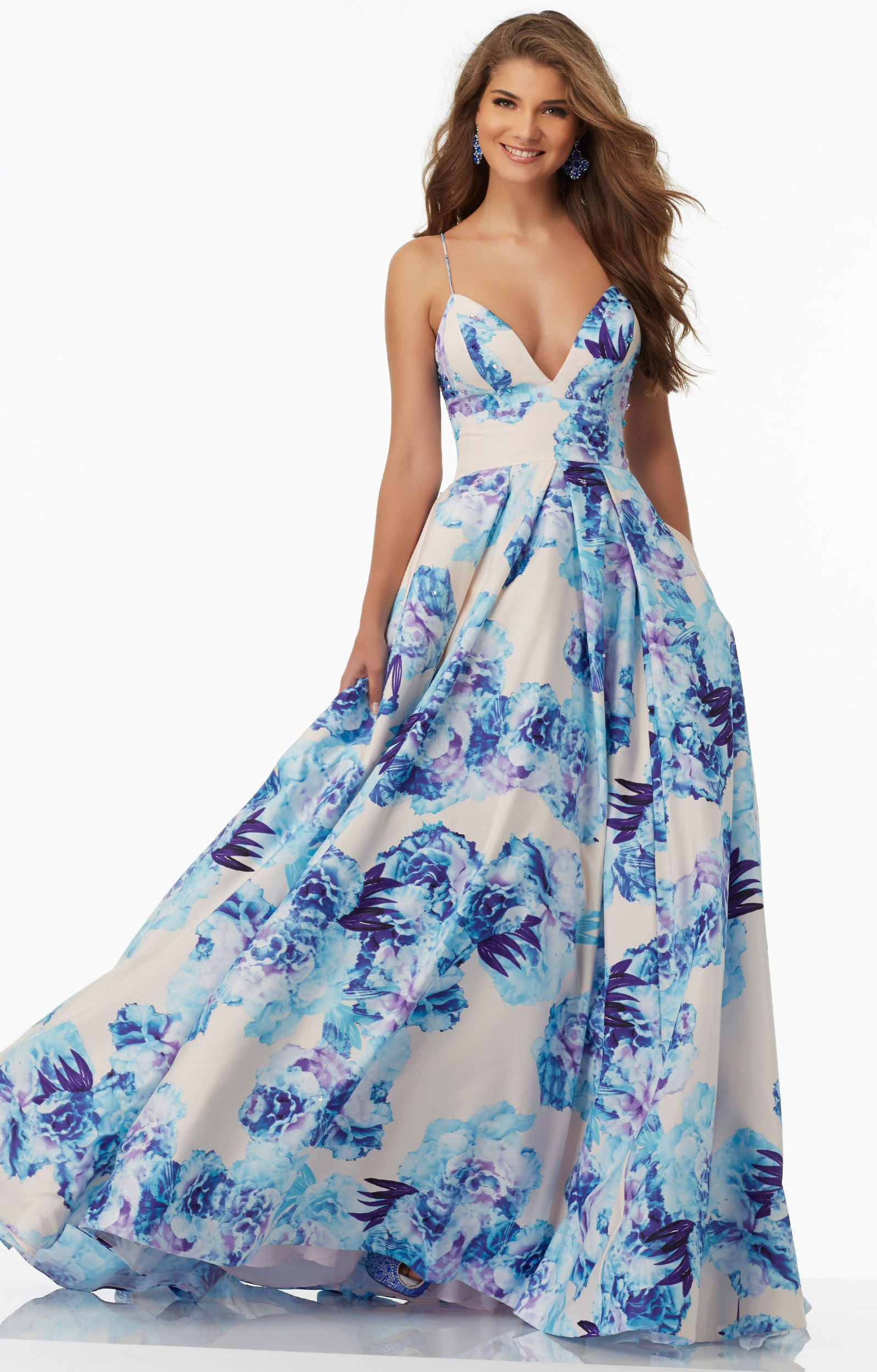 Mori lee prom 99046 v neck floral printed ball gown with for How much do mori lee wedding dresses cost