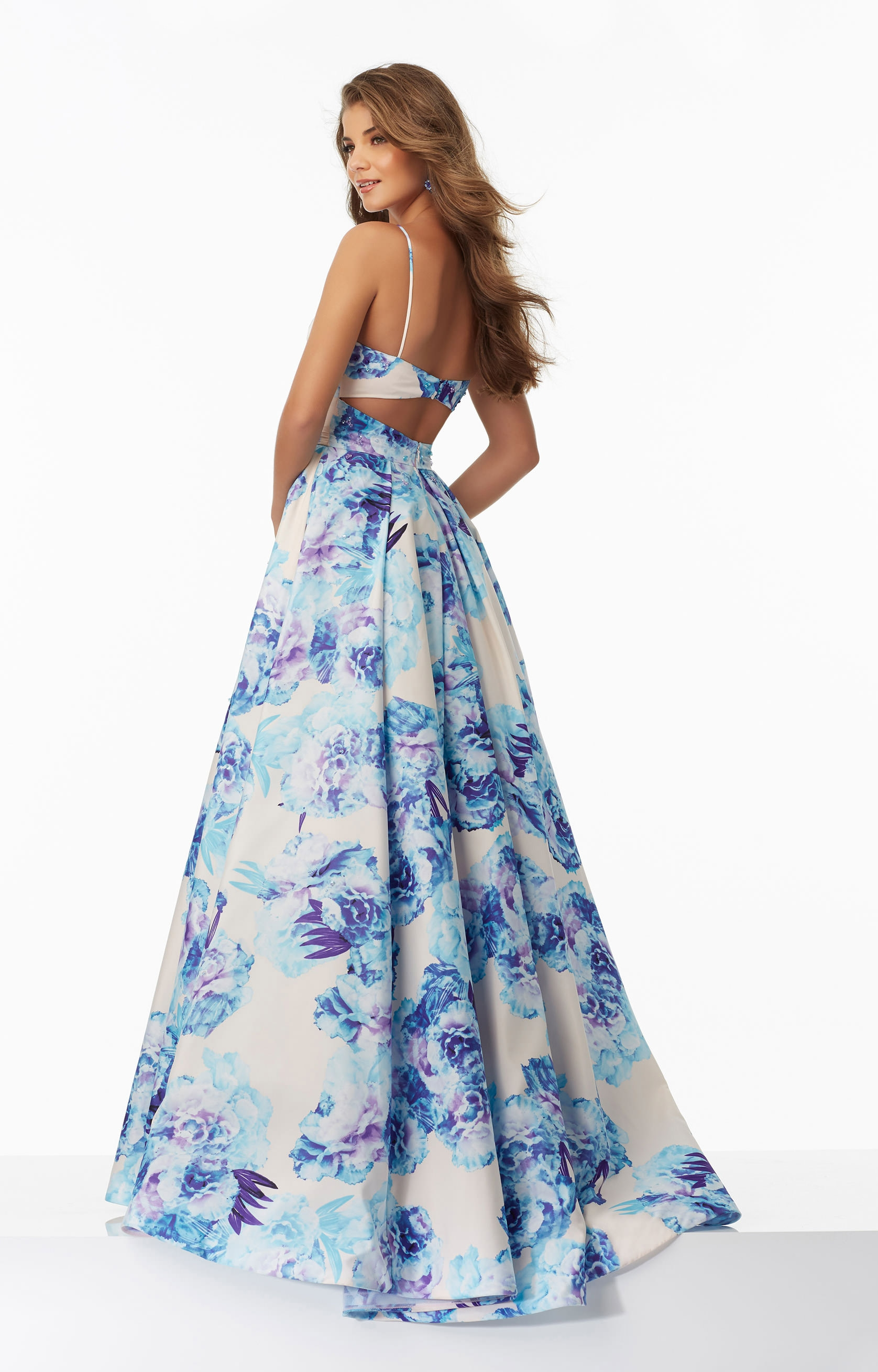 Mori Lee Prom 99046 V Neck Floral Printed Ball Gown With