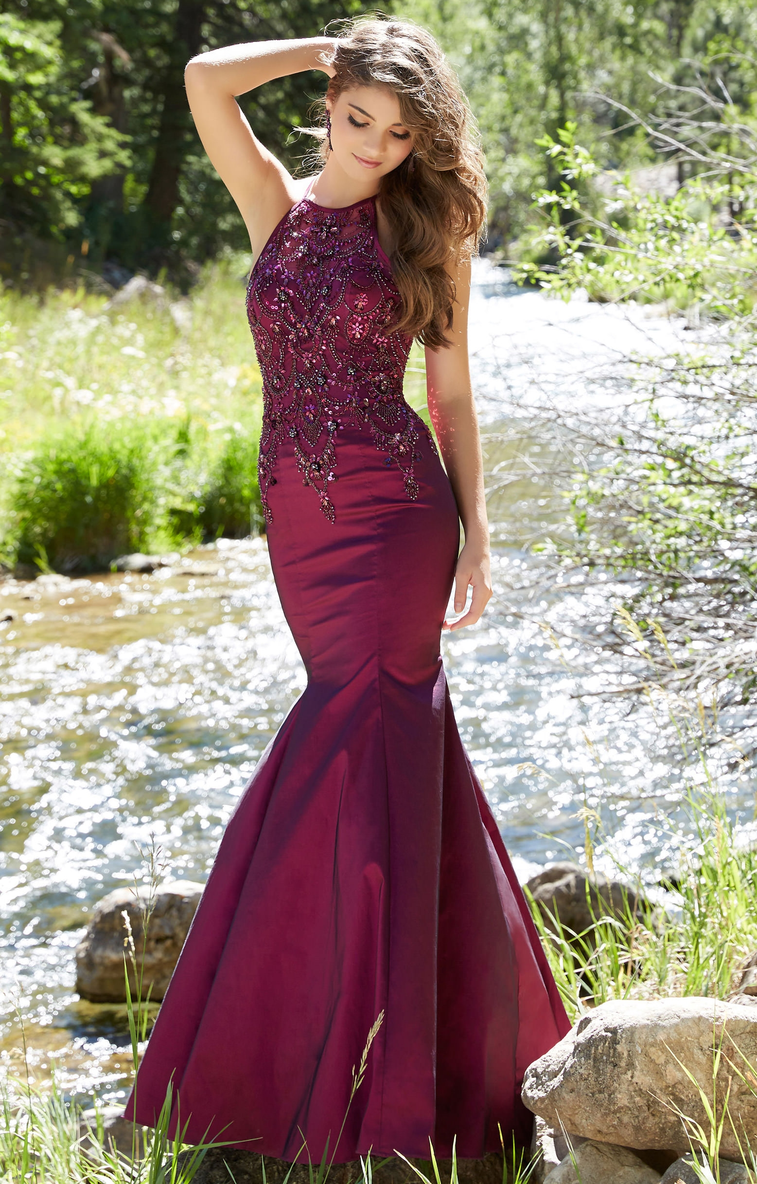 mori lee prom 99050  long high neck with beaded