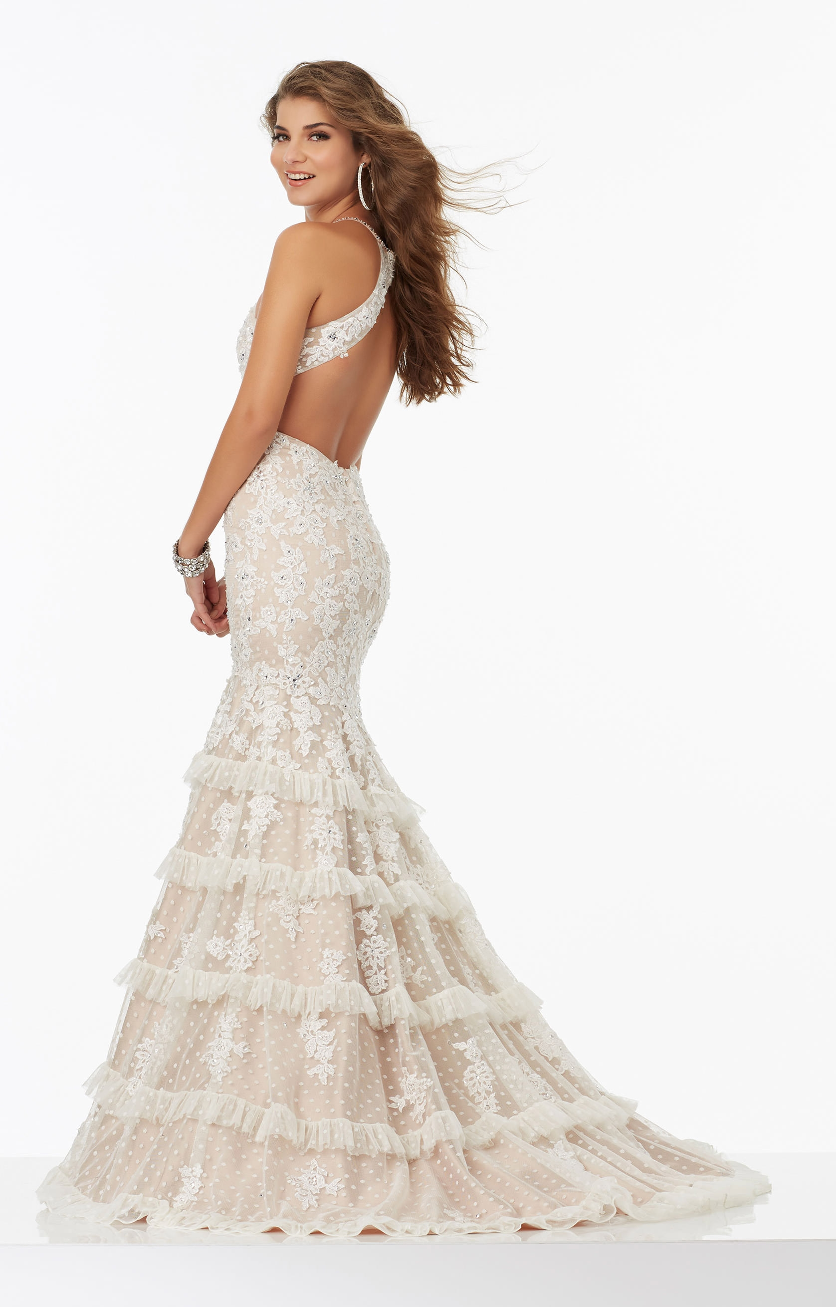 Mori Lee Prom 99061 Lace On Dotted Net Mermaid With