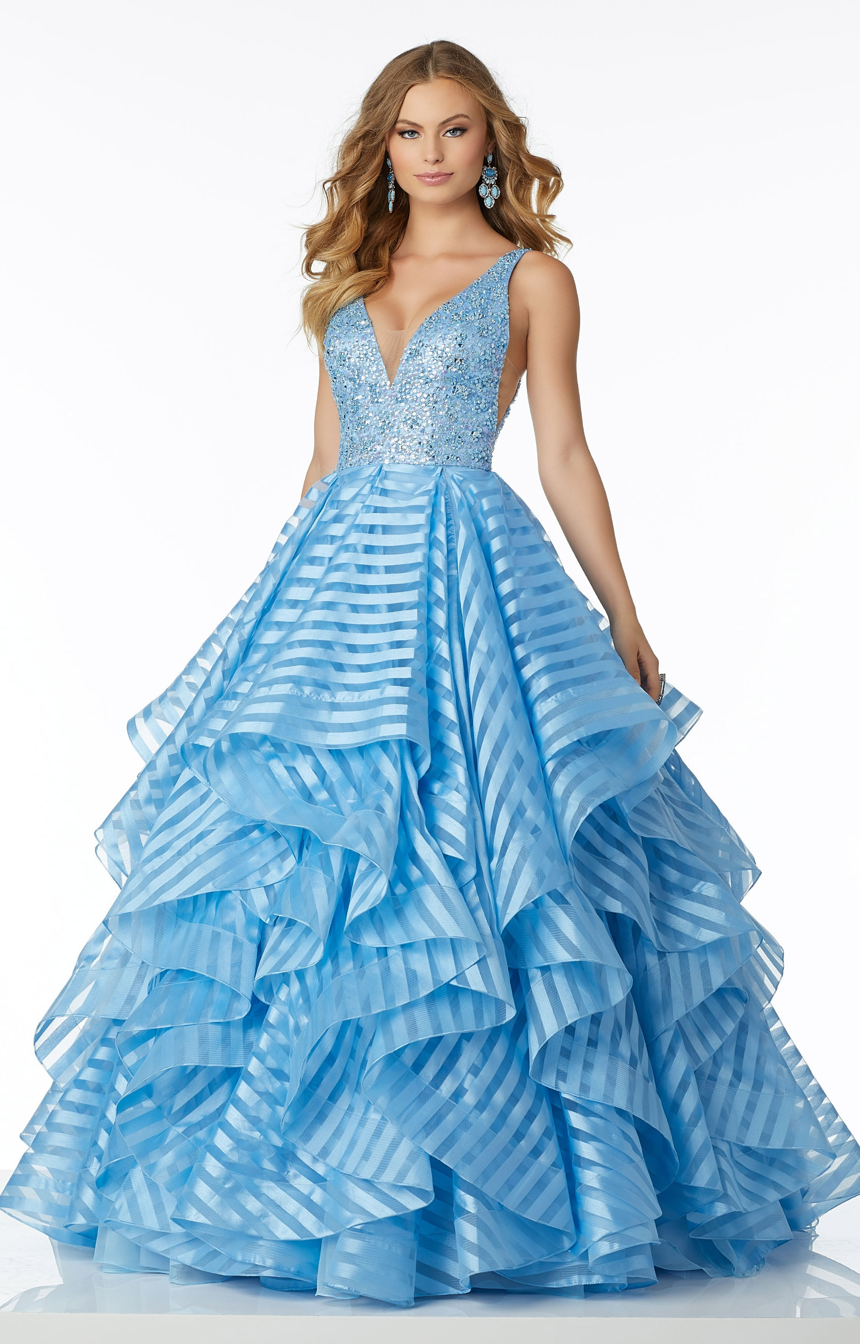 Mori Lee Prom 42001 - V-Neck Striped Organza Ball Gown Prom Dress