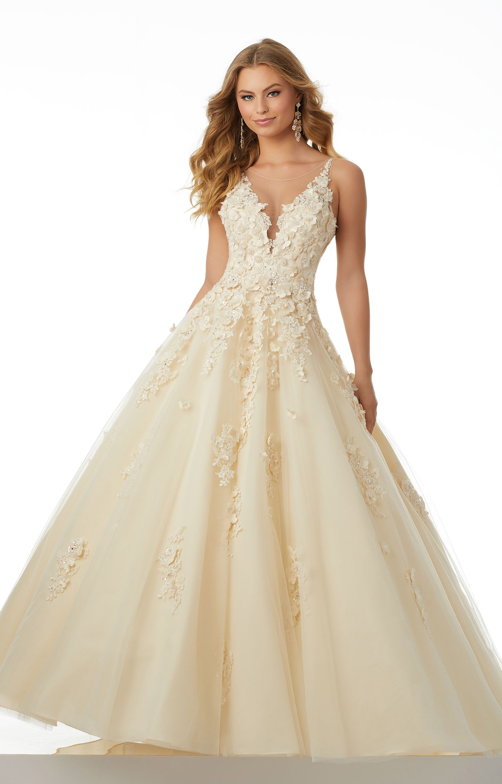 Mori Lee Prom 42026 V Neck Tulle Ball Gown Prom Dress