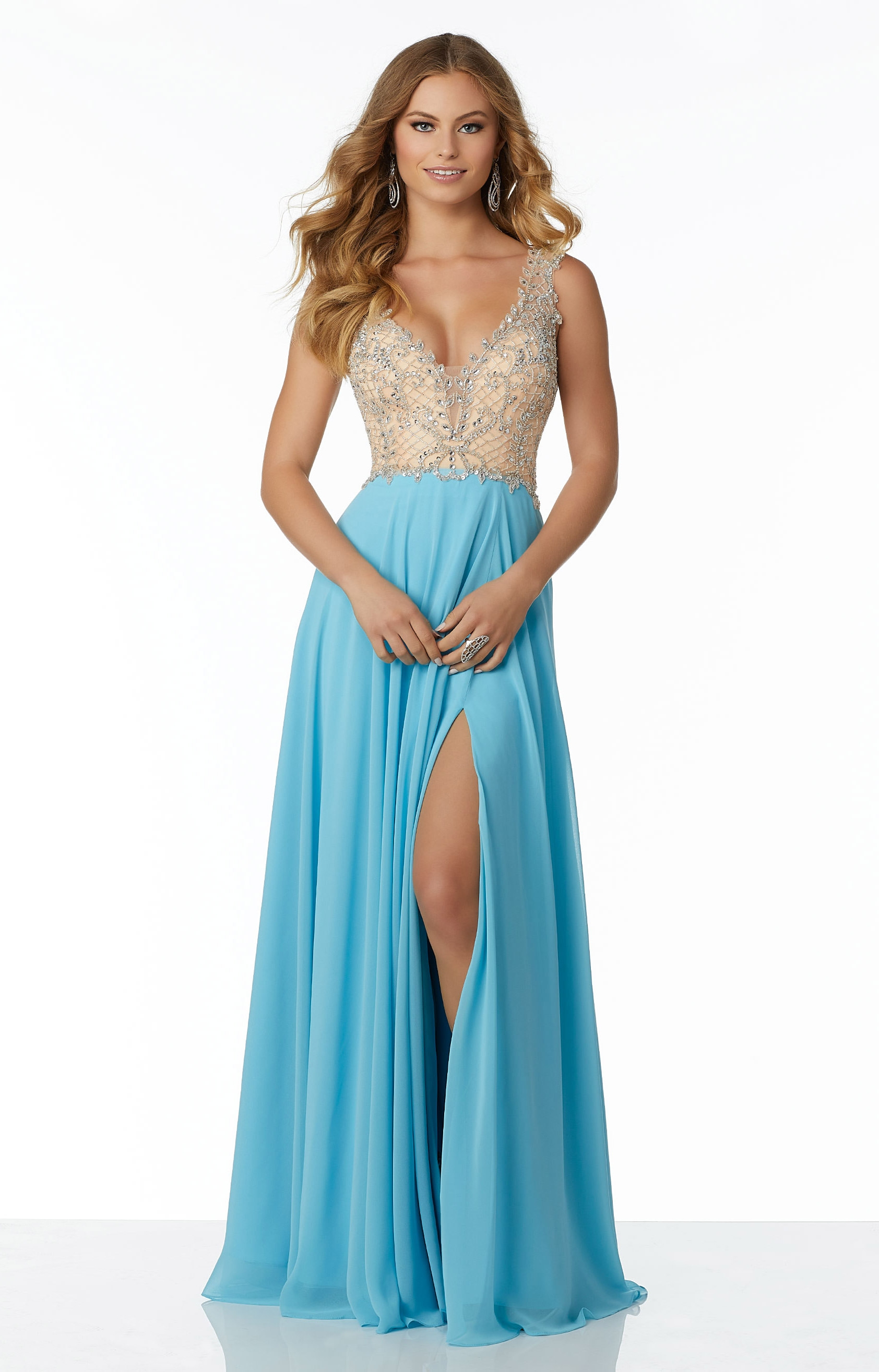 Mori Lee Prom 42027 V Neck A Line Chiffon Prom Dress