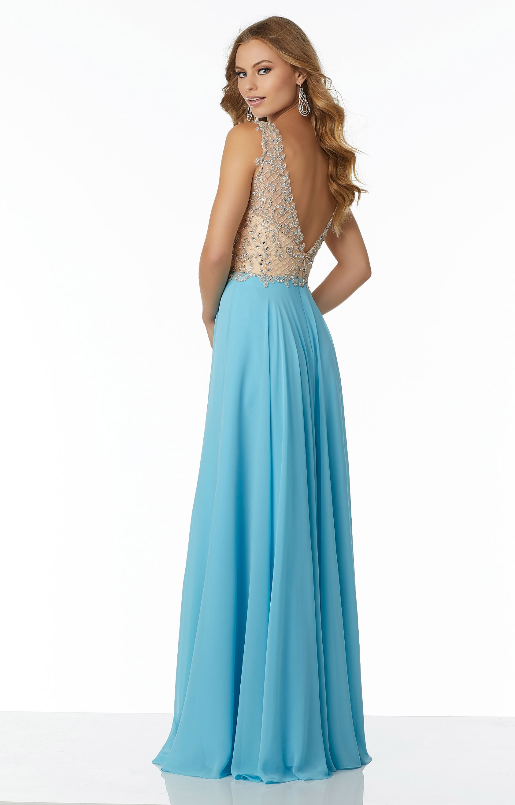 Mori Lee Prom 42027 - V-Neck A-Line Chiffon Prom Dress