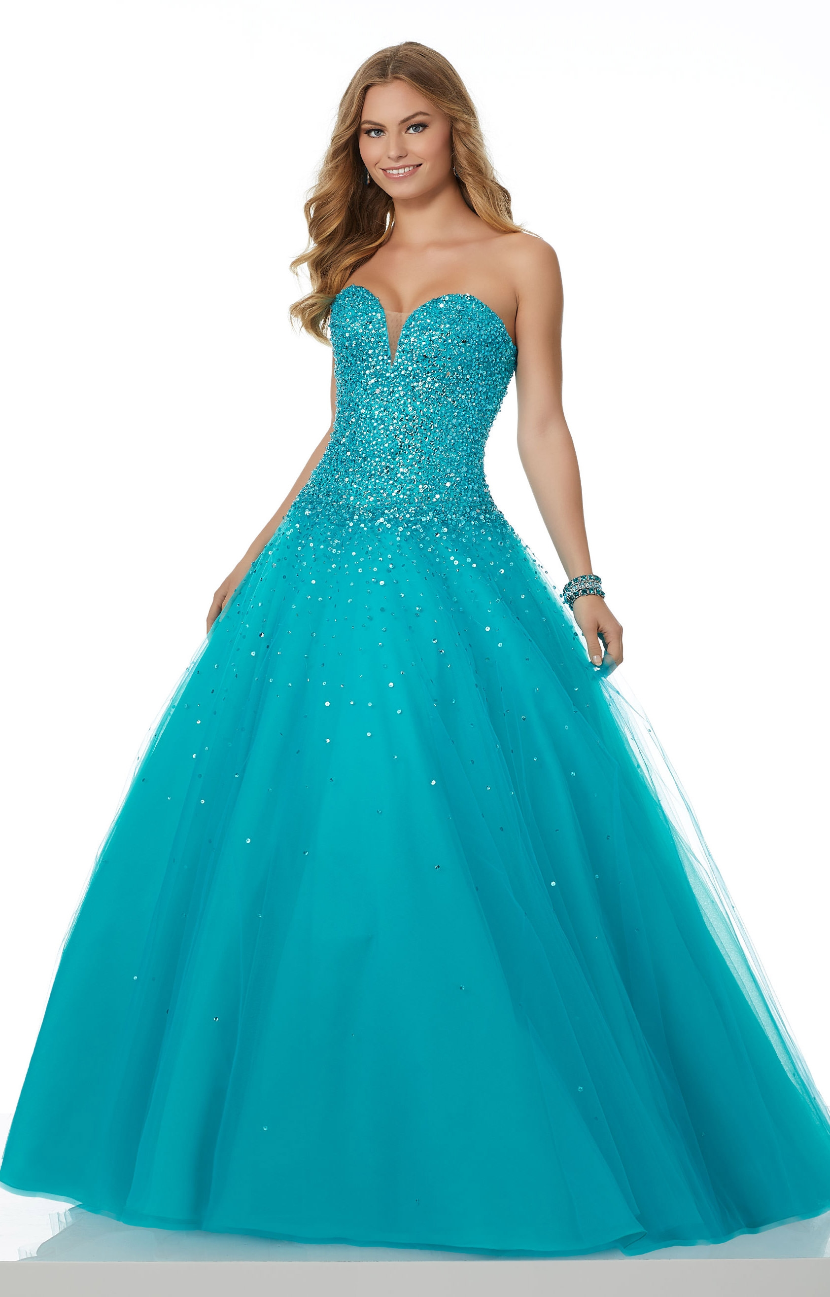 Mori Lee Prom 42040 - Sweetheart Strapless Sequined Ball Gown Prom Dress