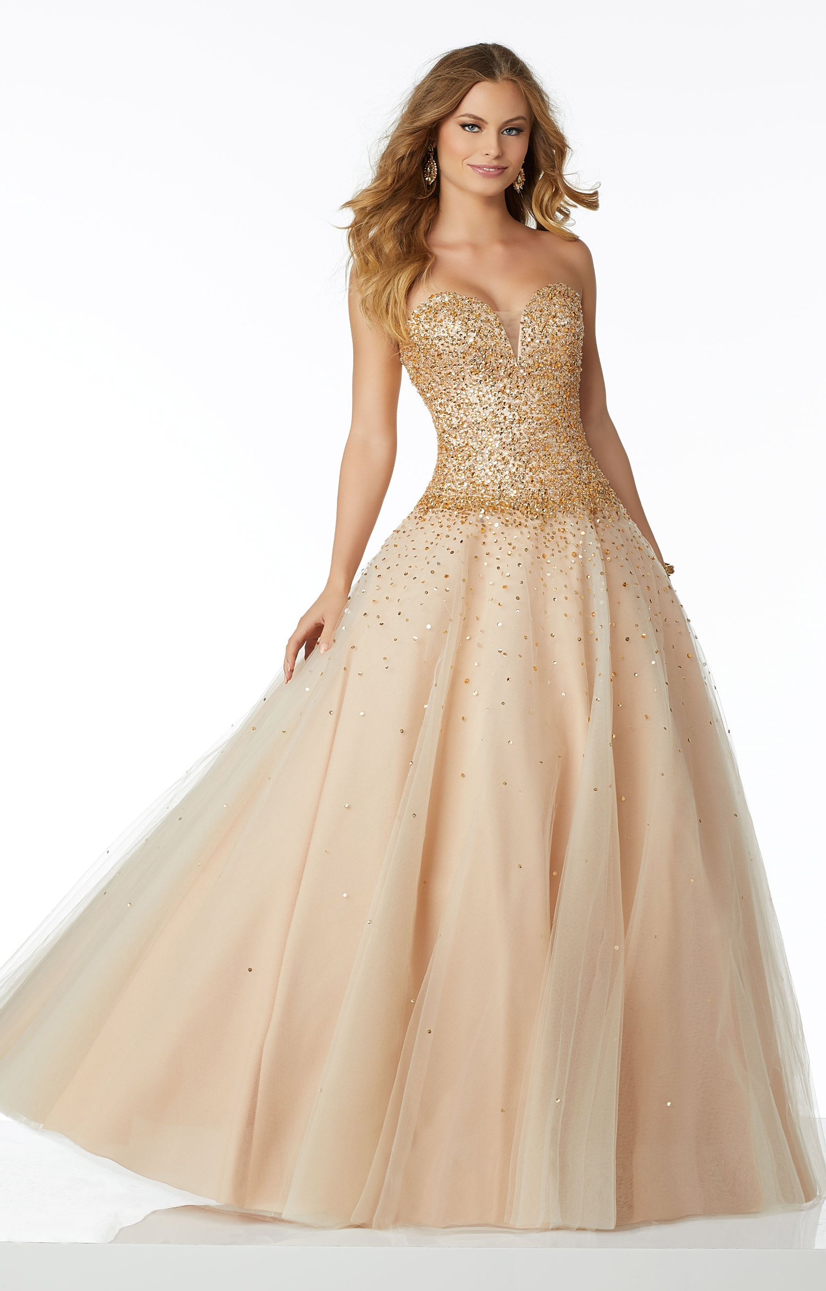 Mori Lee Prom 42040 Sweetheart Strapless Sequined Ball