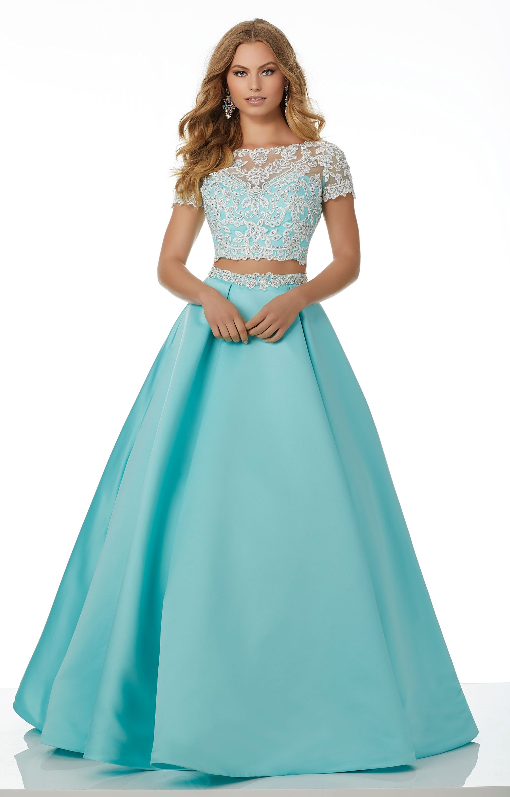 Mori Lee Prom 42086 - 2 Piece Satin Ball Gown Prom Dress