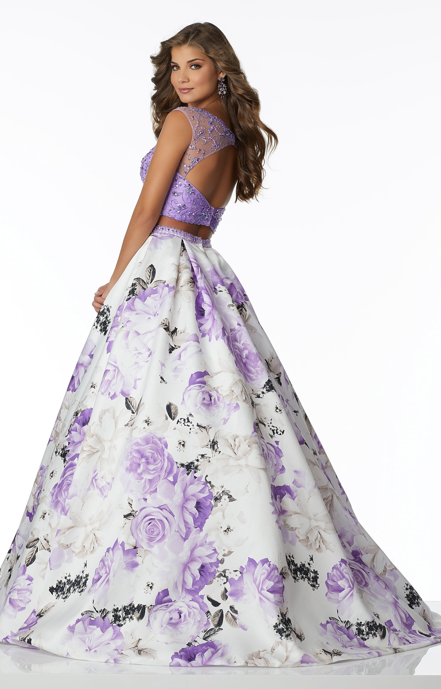 Mori Lee Prom 42090 2 Piece Floral Print Ball Gown Prom