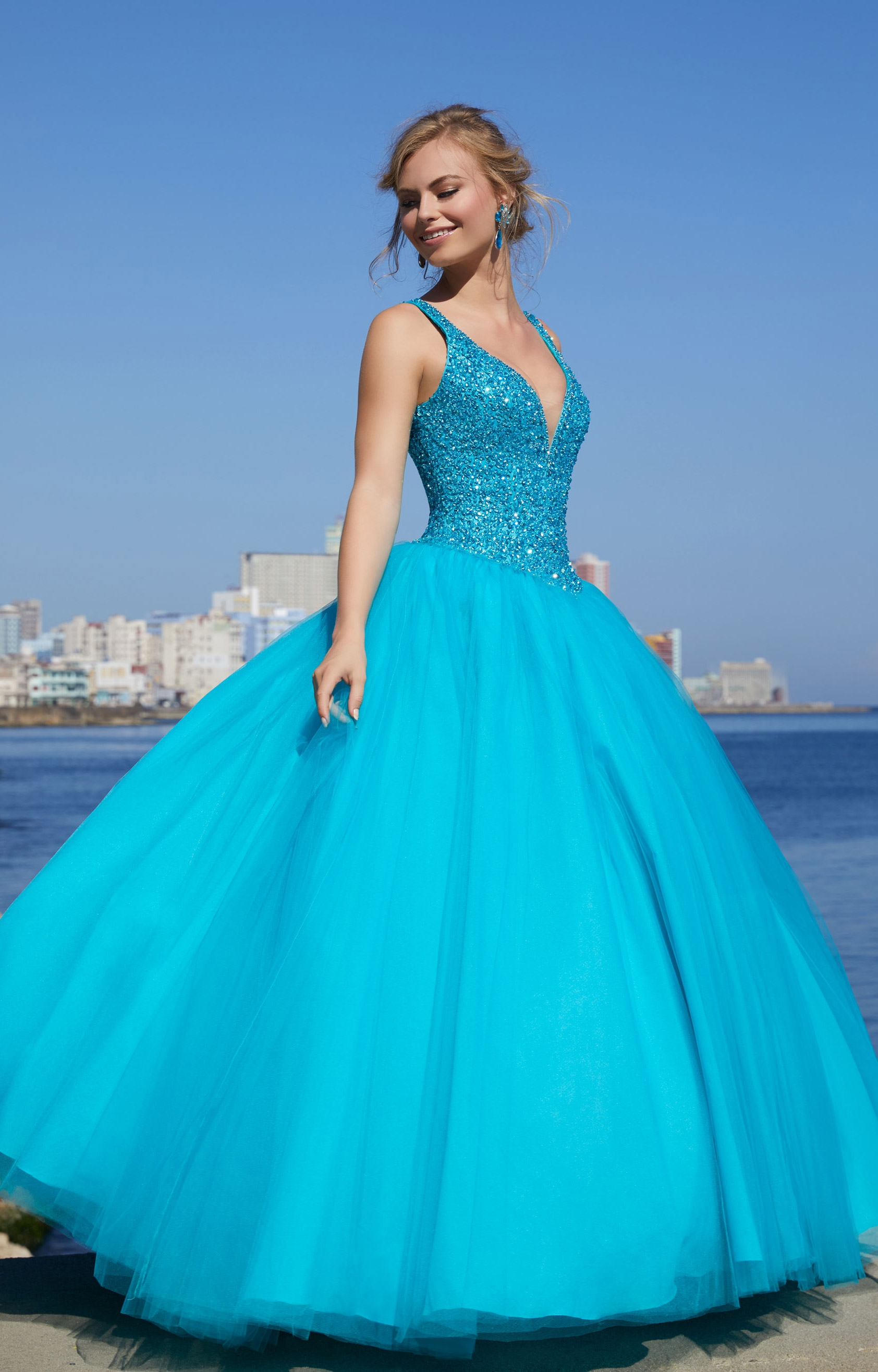 Mori Lee Prom 42093 - V-Neck Tulle Ball Gown Prom Dress