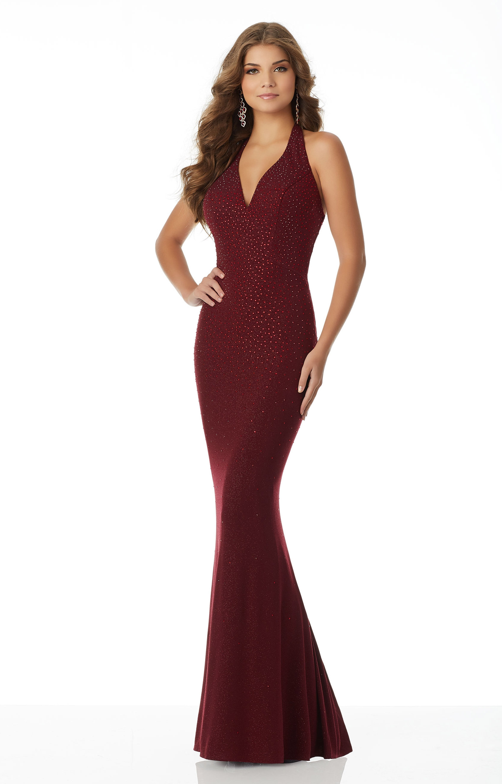 Mori Lee Prom 42108 - Fitted Jersey V-Neck Prom Dress
