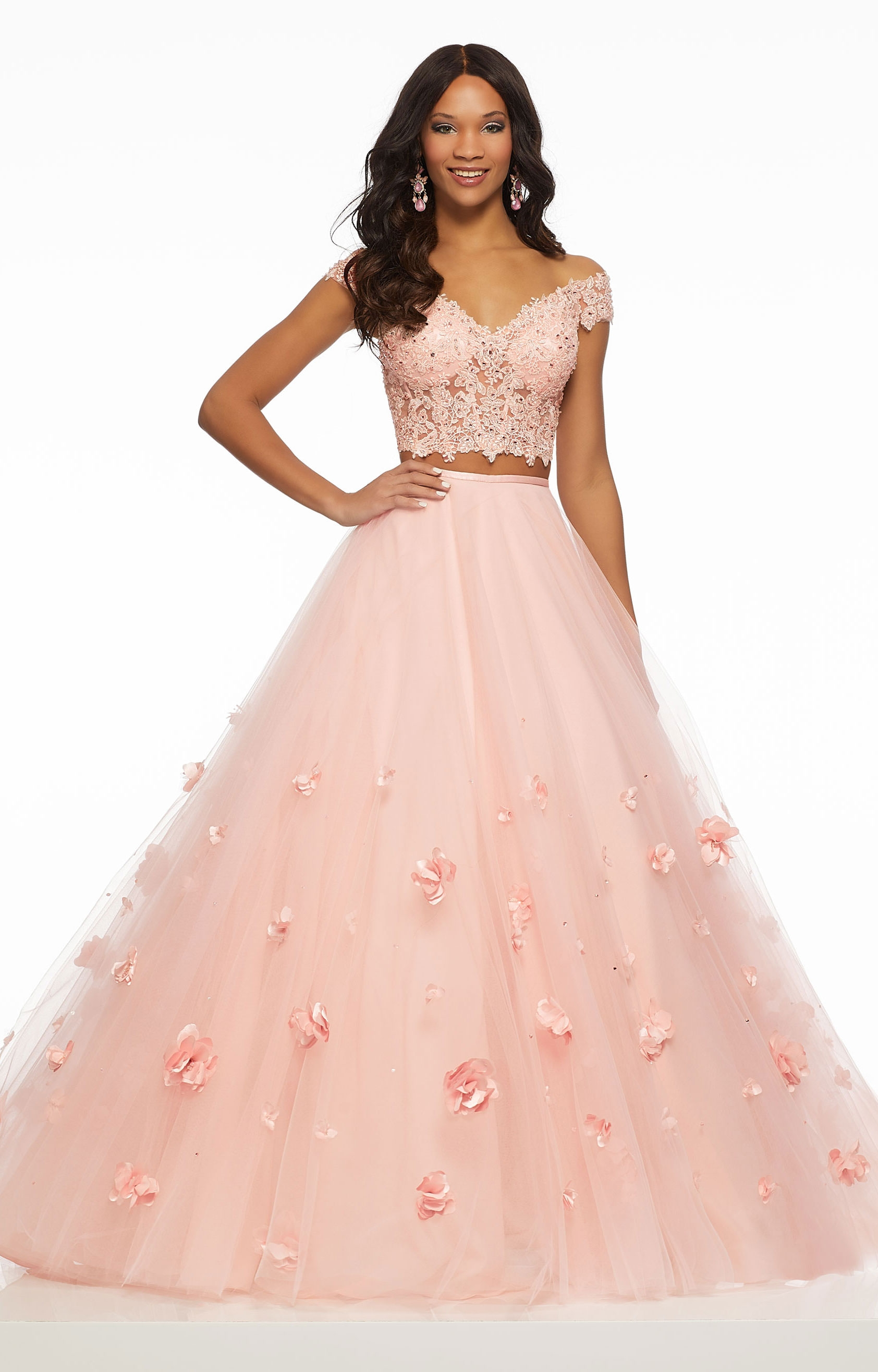 91aed05246 Morilee Prom 43016 - Tulle 3D Floral Ballgown Two-Piece