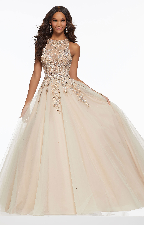 e4dbb920ee1 Morilee Prom 43023 - Elegant Sheer High Neckline Ball Gown