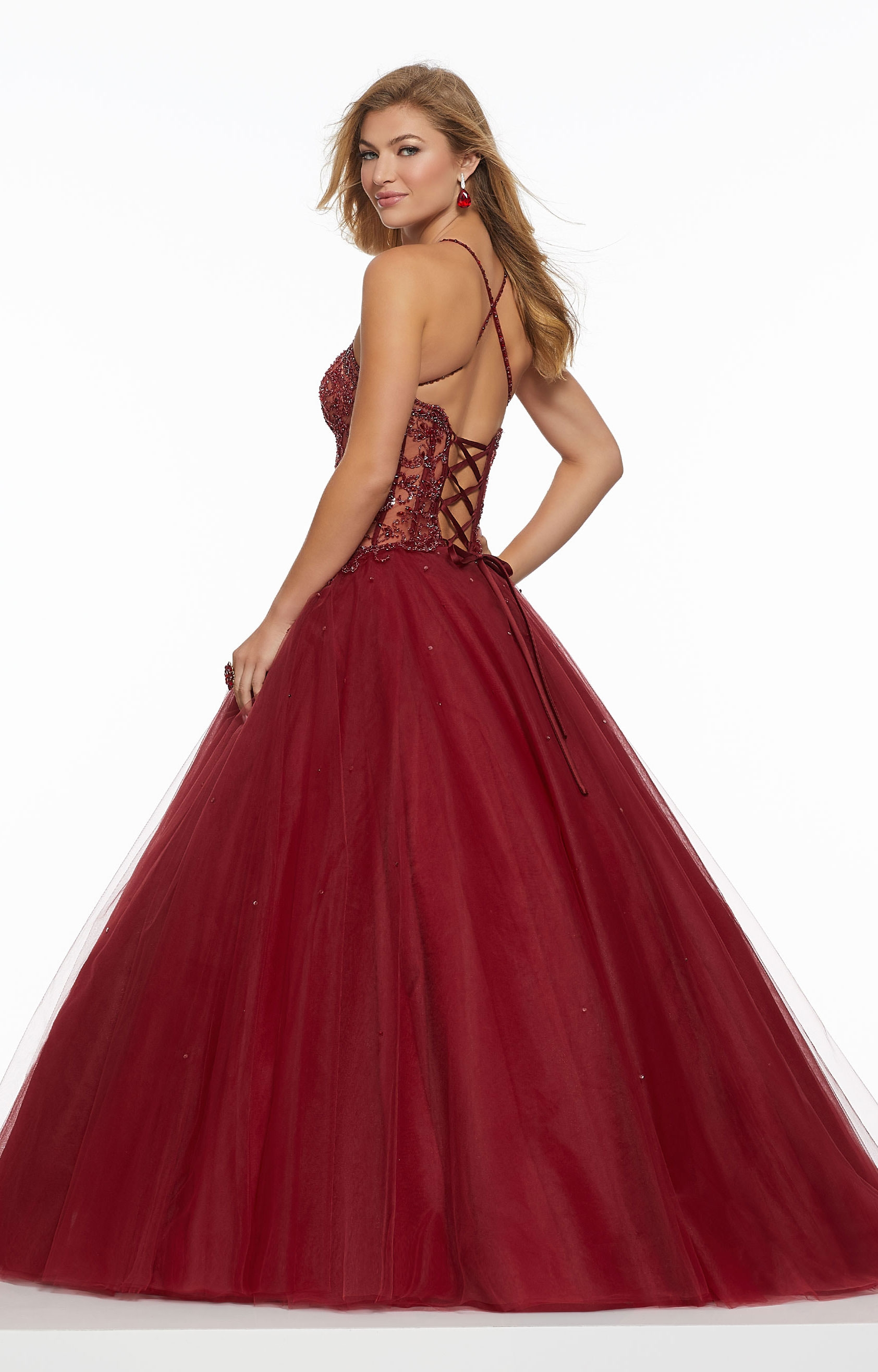 Mori Lee Prom 43033 - Sheer Beaded Corset Back Ball Gown Prom Dress